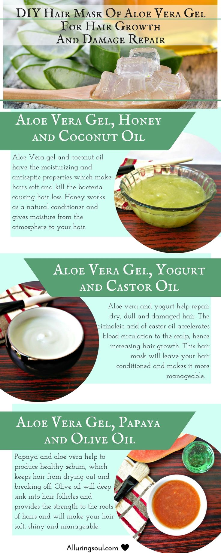 Apply hair mask of aloe vera gel which promotes hair growth, repairs damaged hai...