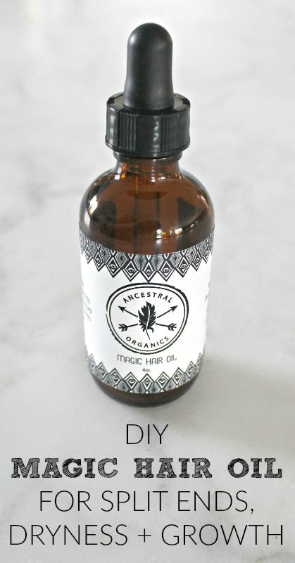 DIY Magic Hair Oil with essential oils for split ends, dryness, frizz and growth...