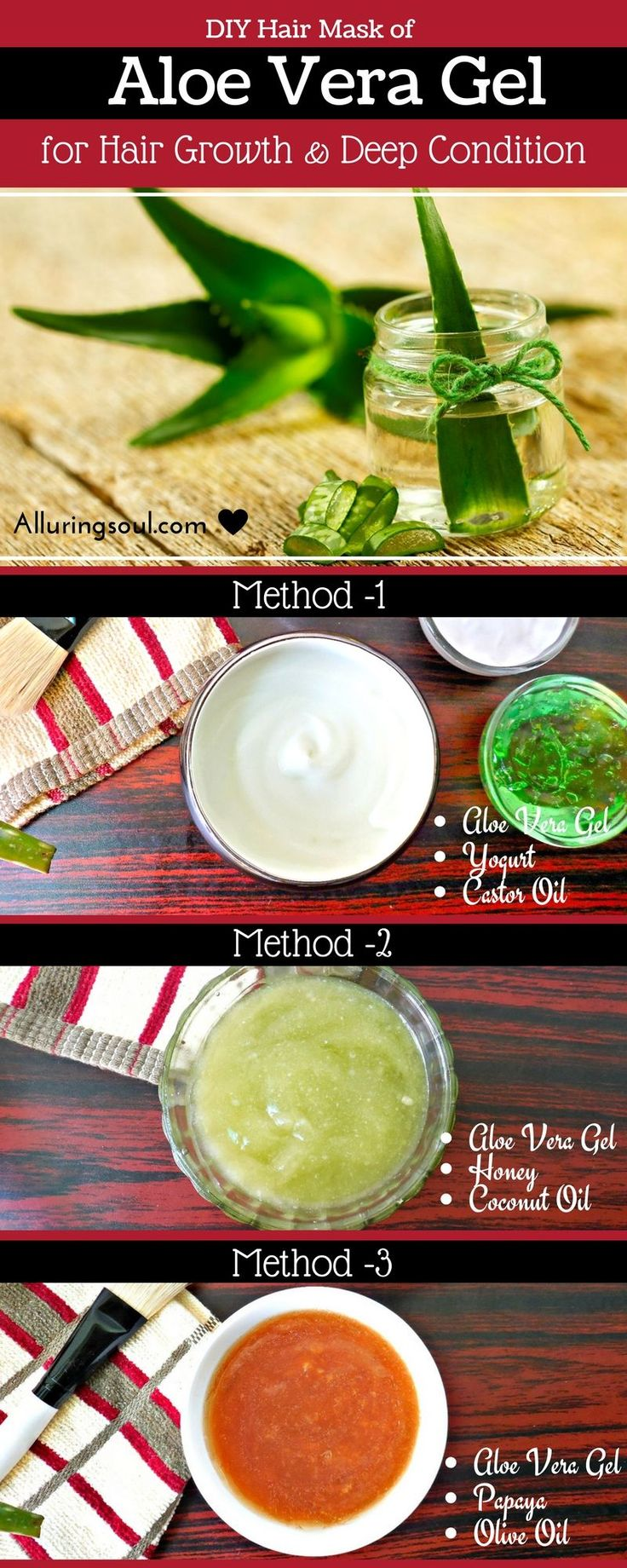 Hair mask of Aloe Vera Gel is great for hair growth and also as a effective deep...