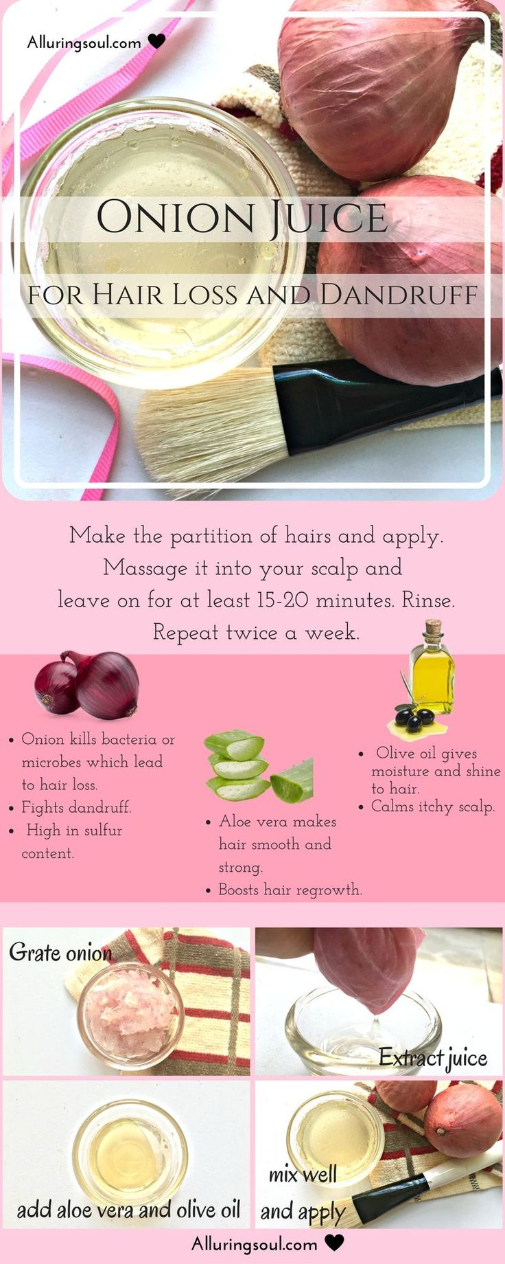 Onion juice for hair loss is the proved remedy for hair and scalp problem. It co...