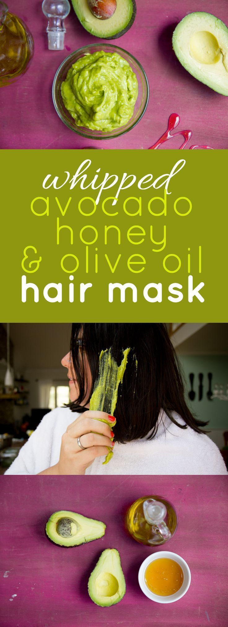 Whipped Avocado, Honey, and Olive Oil Hair Mask. Take the time to care for yours...