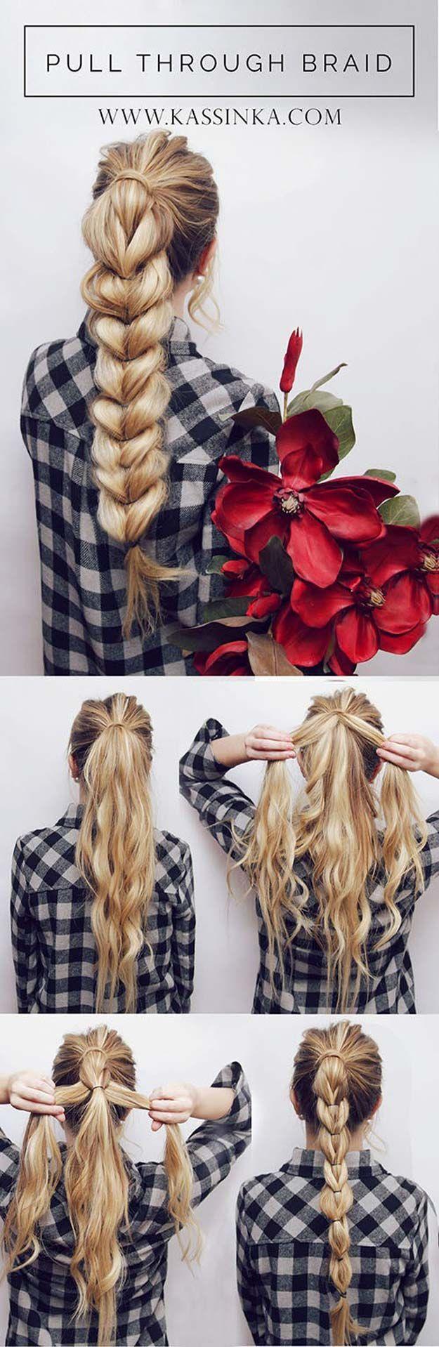 Best Hair Braiding Tutorials - Pull Through Braid Tutorial - Easy Step by Step T...