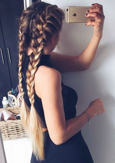French braids for long hair inspiration   Ombre hair color   Braids hairstyles f...