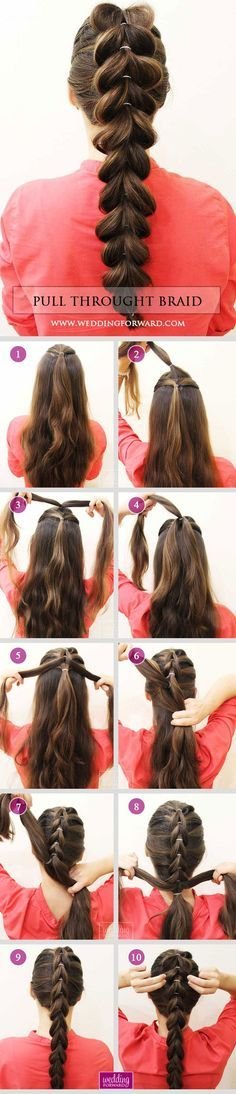 36 Braided Wedding Hair Ideas You Will Love❤ Stylish Pull Throught Braid at ho...
