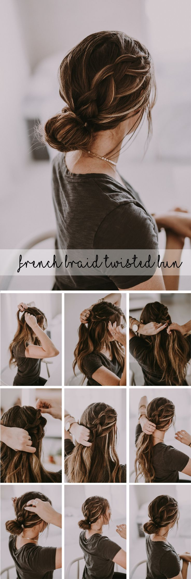Beautiful french braid twisted bun up-do hairstyle. Perfect dressed up for holid...