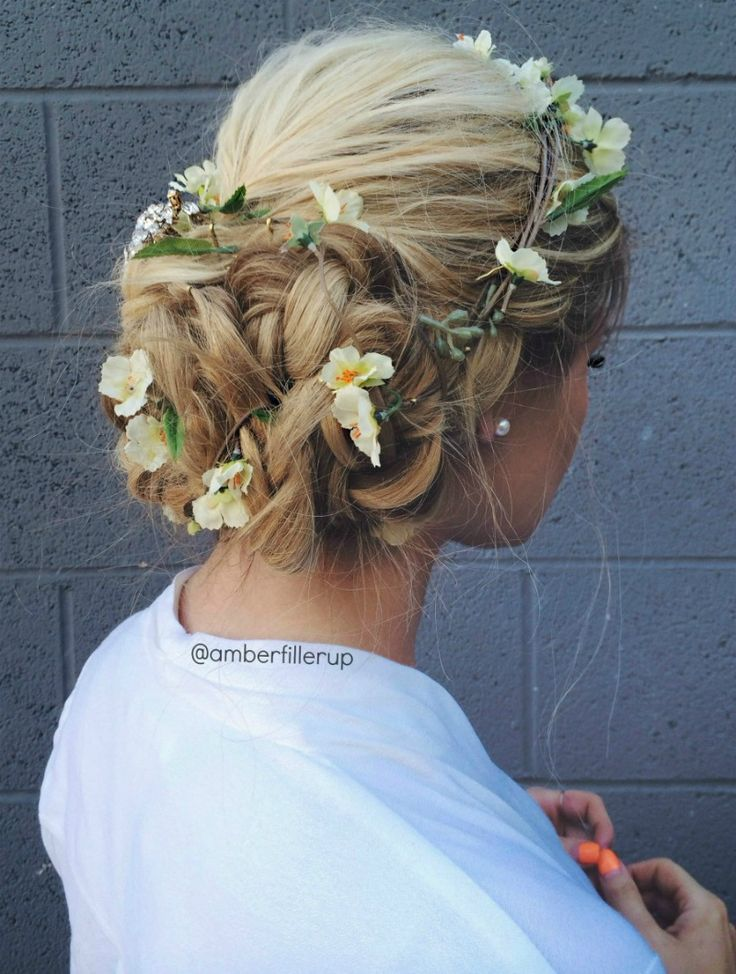 Chic flower brown + braided bun