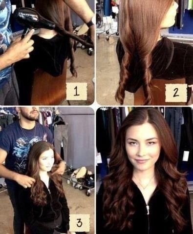 Cool hair trick - while hair is wet, divide into two twists. Blow dry it. Than p...