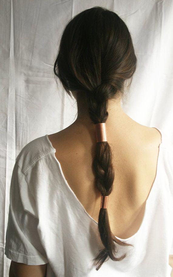 Cute hair accessory idea for a braid: copper tubes