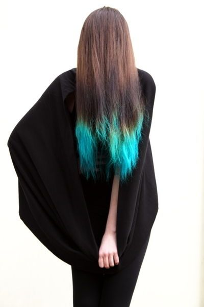 Dip dyed blue ends