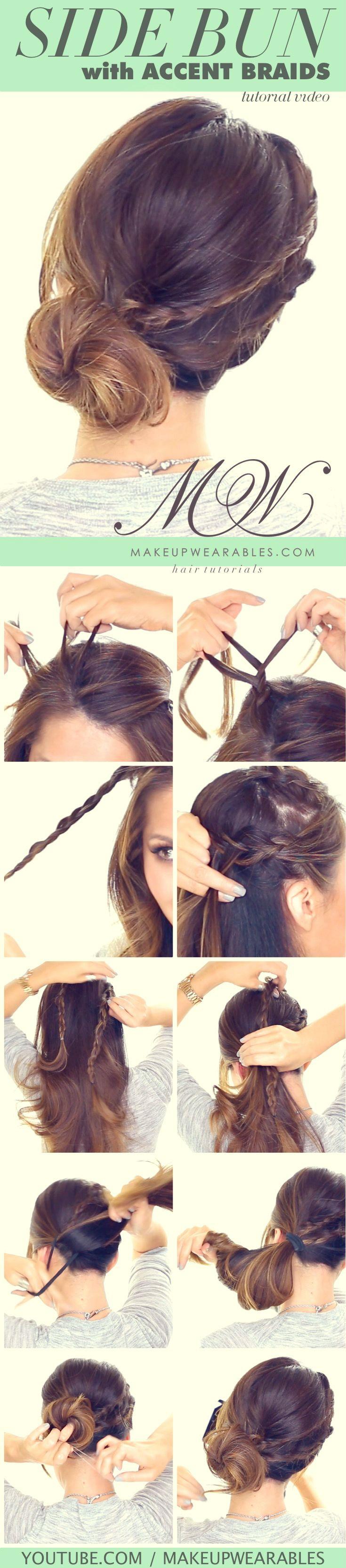 Easy Side Braid Messy Bun  - cute hairstyles for everyday