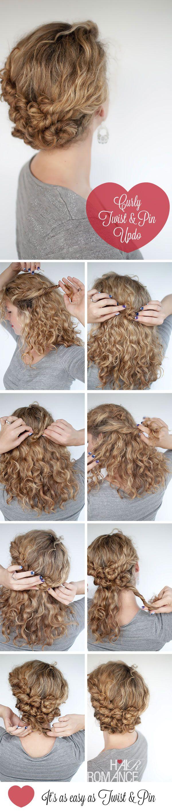 hair tutorials hair romance curly twist pin hairstyle