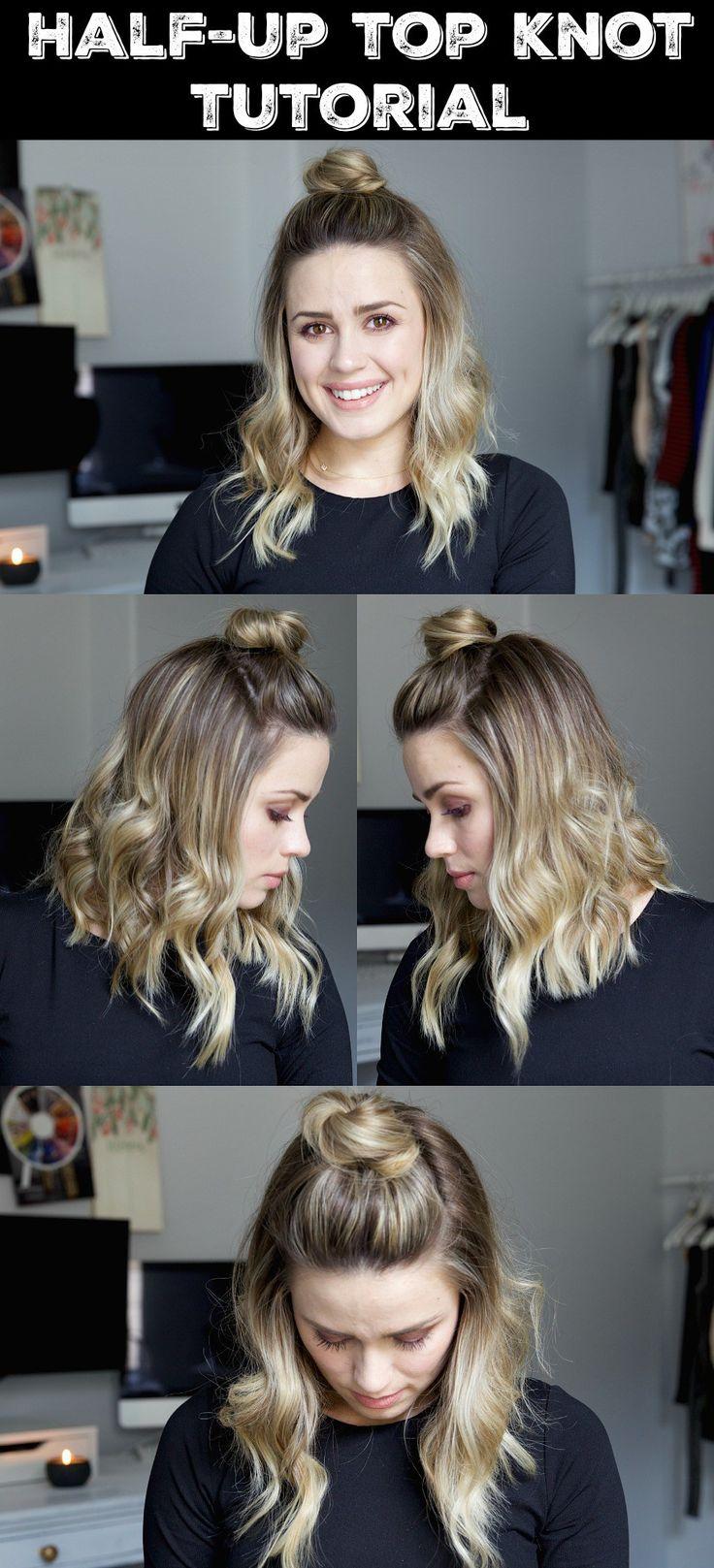 Half Up Top Knot Tutorial | Short Hair | Short hair tutorial | Wavy hair tutoria...