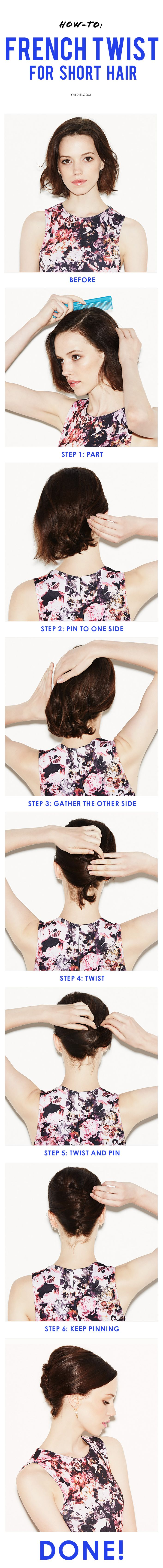 How to create a totally chic French twist on any hair length. (via Byrdie Beauty...