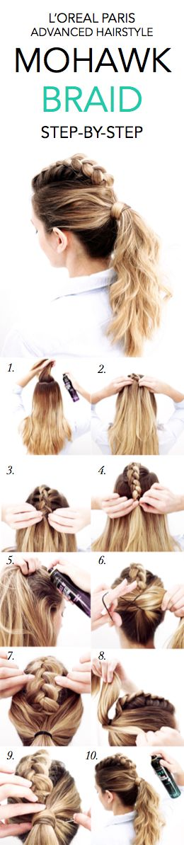 How to do a Mohawk Braid: 1. Section off hair at crown of head and spray roots w...