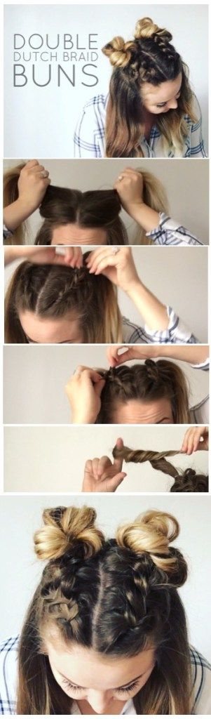 I'm super excited to show you how to do these adorable Double Dutch Braid Buns...
