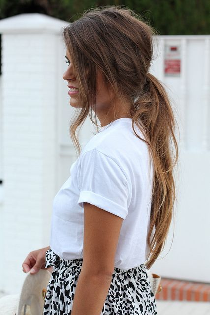 Long hair, teased a little bit - so gorgeous!