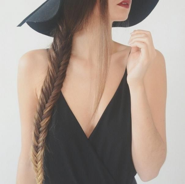 Ombre fishtail braids pair great with floppy hats.
