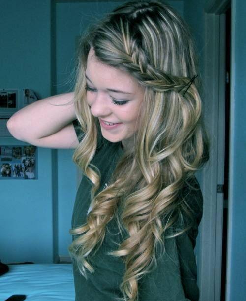 Side braid with full curls.