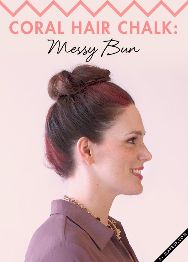 Spice up your hair with this coral hair chalk messy bun. Here's how to get t...