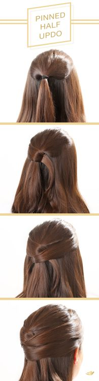To get this beautiful pinned half updo, follow this step-by-step hair tutorial. ...