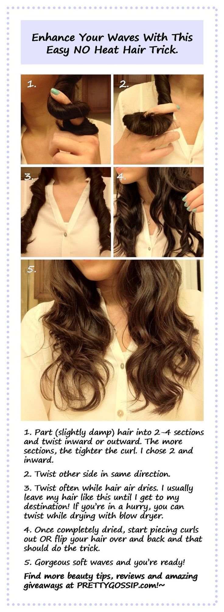 Top 10 DIY No Heat Curls ~Great natural look from website: www.topinspired.c...