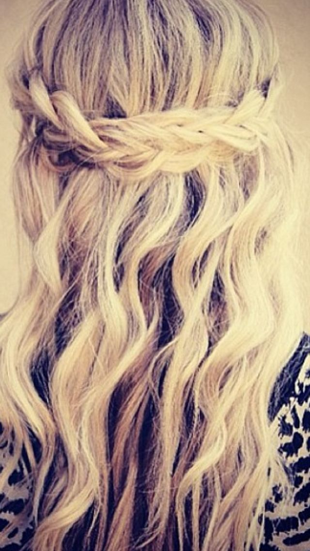Braided hair- half up/half down style  I'm liking the braid but would have t...