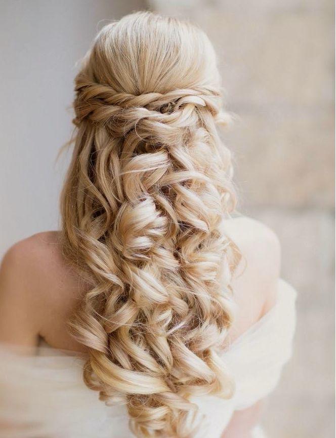 Classy and Elegant Wedding Hairstyles | Bridal long hair ideas | Half up bridal ...