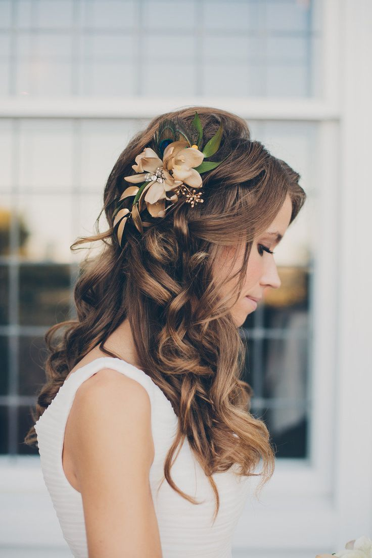 Curled Half-Updo - Feminine Bridal Hair