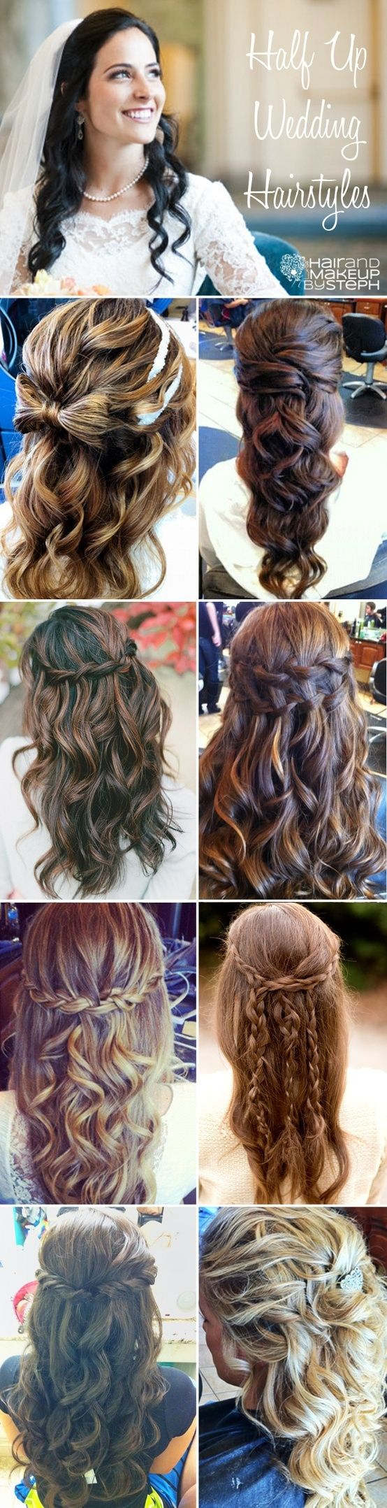 I definitely want a lot of hair down and curled, these are cute ideas. I love th...