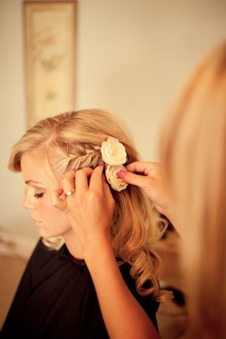 Side swept wedding hair with flowers. Yes please!