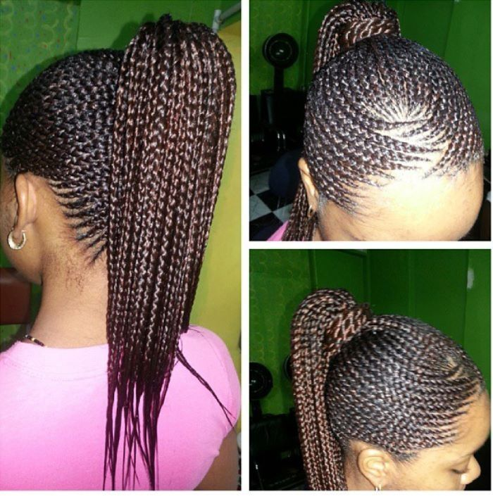Cornrows up in a ponytail