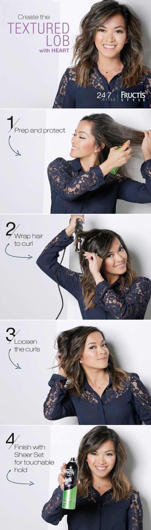 41 Lob Haircut Ideas For Women - TEXTURED LOB HAIRSTYLE TUTORIAL WITH HEART DEFE...