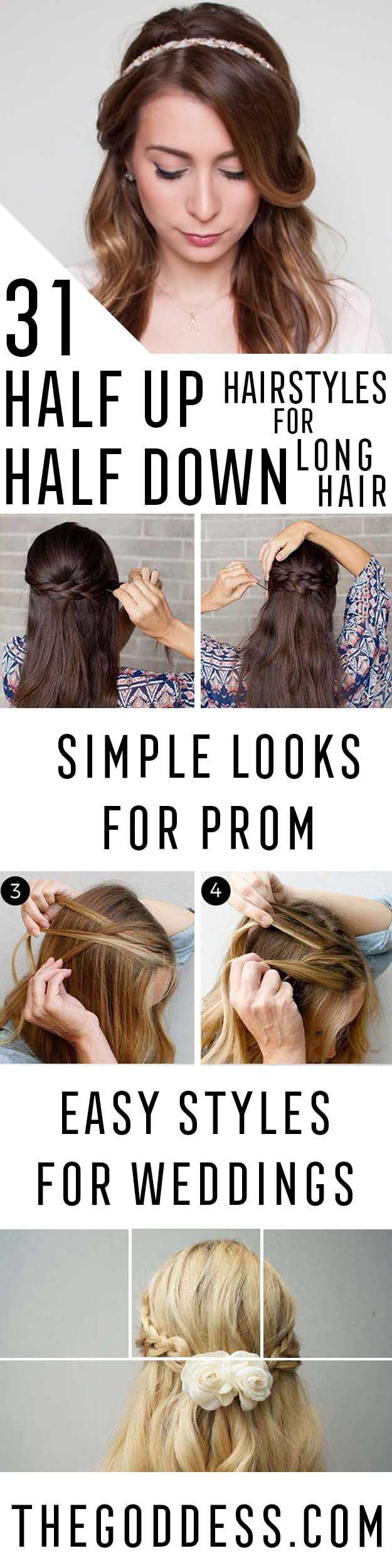 Amazing Half Up-Half Down Hairstyles For Long Hair - Easy Step By Step Tutorials...