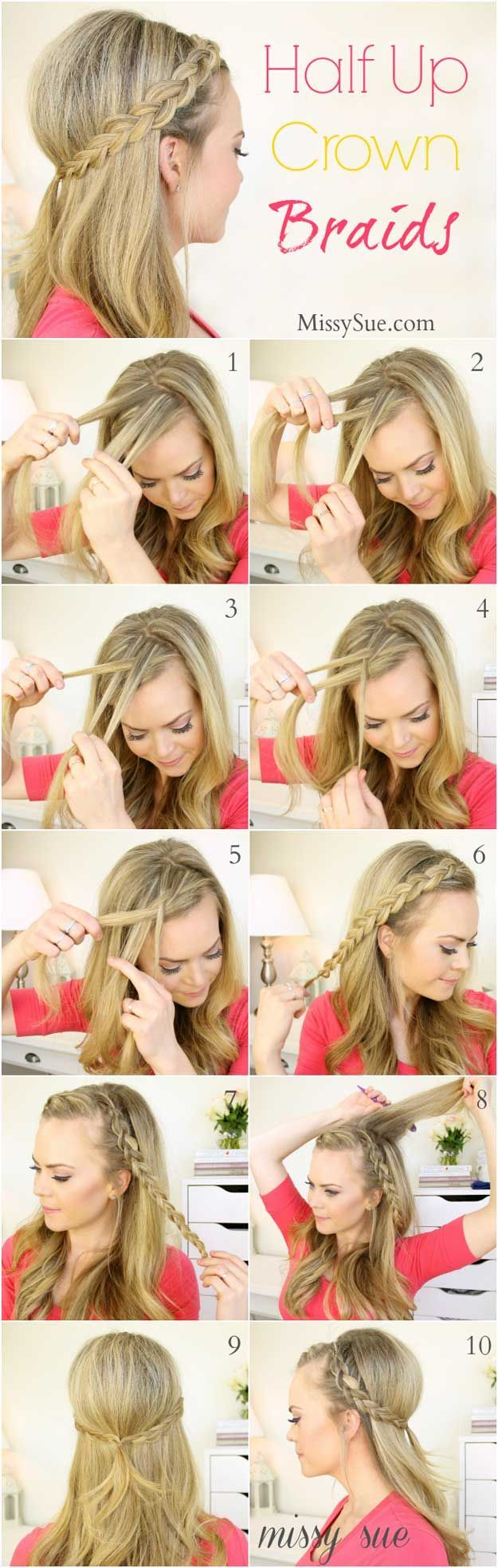 Amazing Half Up-Half Down Hairstyles For Long Hair - Half Up Dutch Braids - Easy...