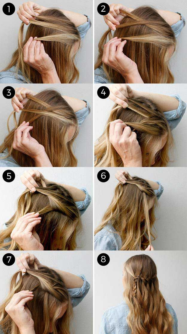 Amazing Half Up-Half Down Hairstyles For Long Hair - How to Create a Waterfall B...