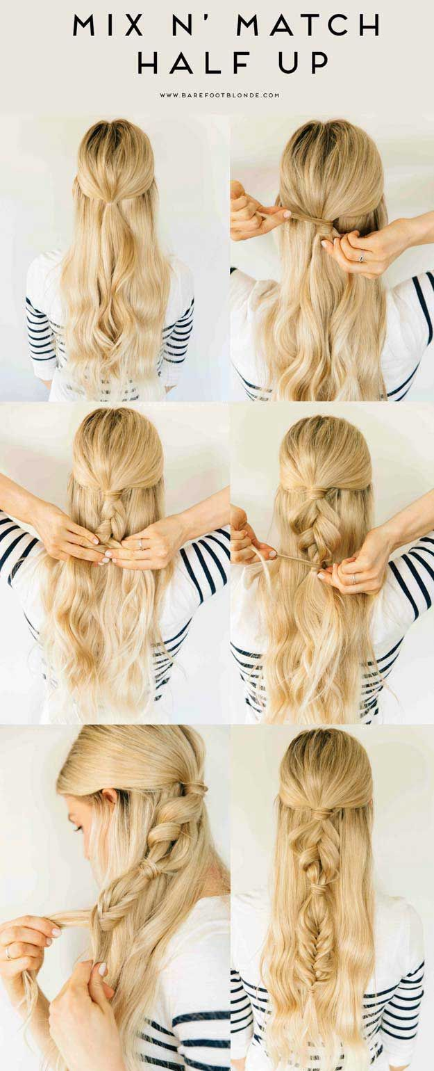 Amazing Half Up-Half Down Hairstyles For Long Hair - Mix N' Match Half Up - Ea...