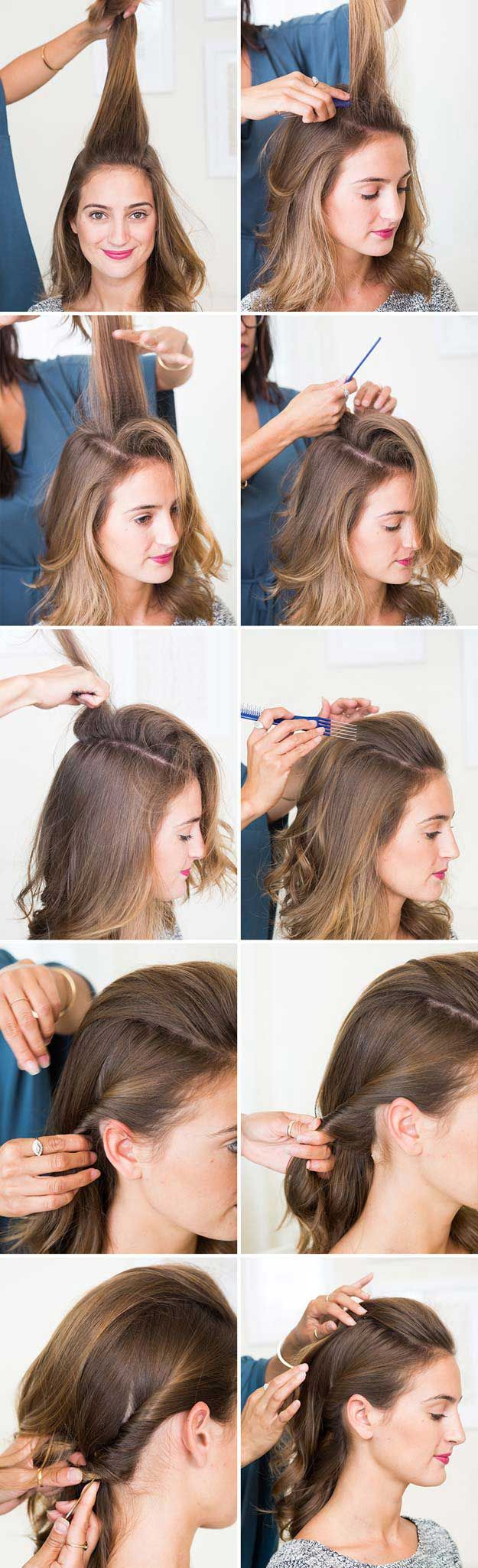 Amazing Half Up-Half Down Hairstyles For Long Hair - The Half-Up PompaDour - Eas...