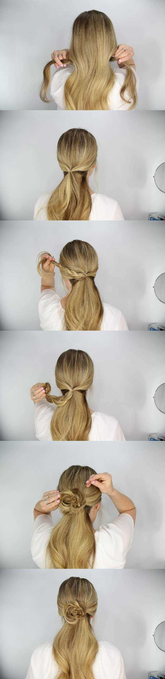 Amazing Half Up-Half Down Hairstyles For Long Hair - The Rosette Embellished Pon...