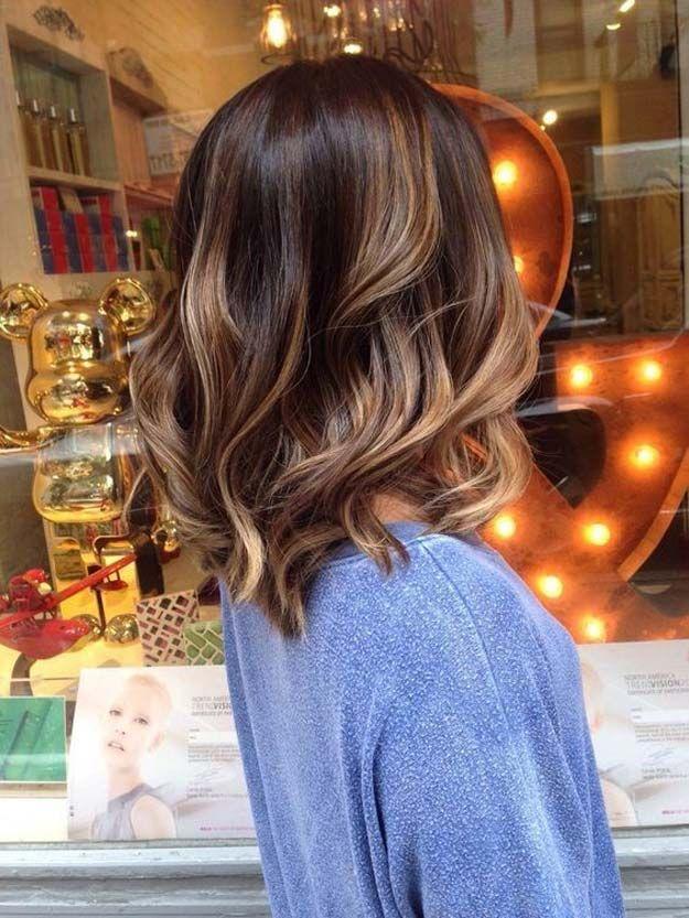 Balayage Ideas for Short Hair - Brown Balayage Wavy Lob - Tips, Tricks, And Idea...