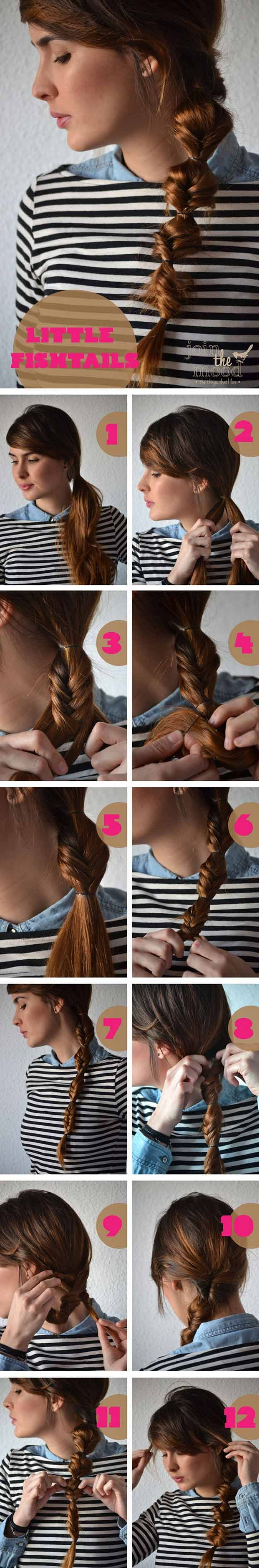 Best 5 Minute Hairstyles - Little Fishtails - Quick And Easy Hairstyles and Hair...