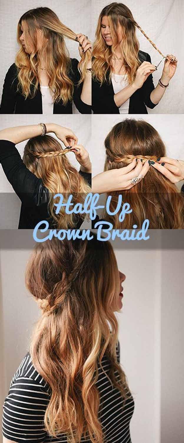 Best Hair Braiding Tutorials - Half Up Crown Braid - Step By Step Easy Hair Brai...