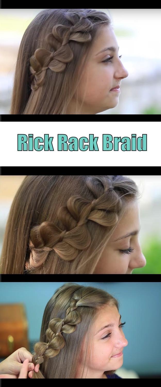 Best Hair Braiding Tutorials - Rick Rack Braid Cute Girls Hairstyles - Step By S...