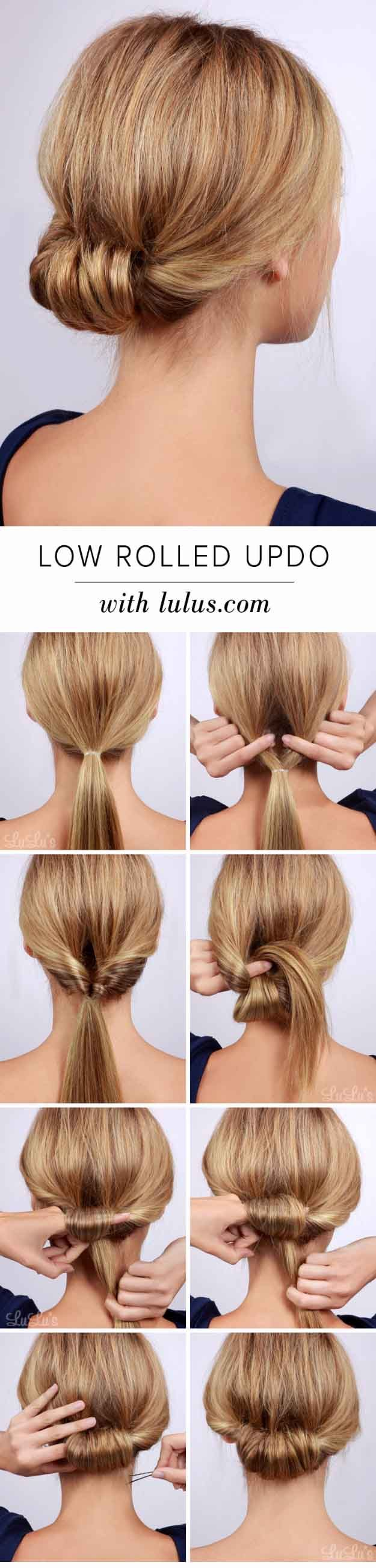 Best Hairstyles for Brides - Low Rolled Updo Hair Tutorial- Amazing Hair Styles ...