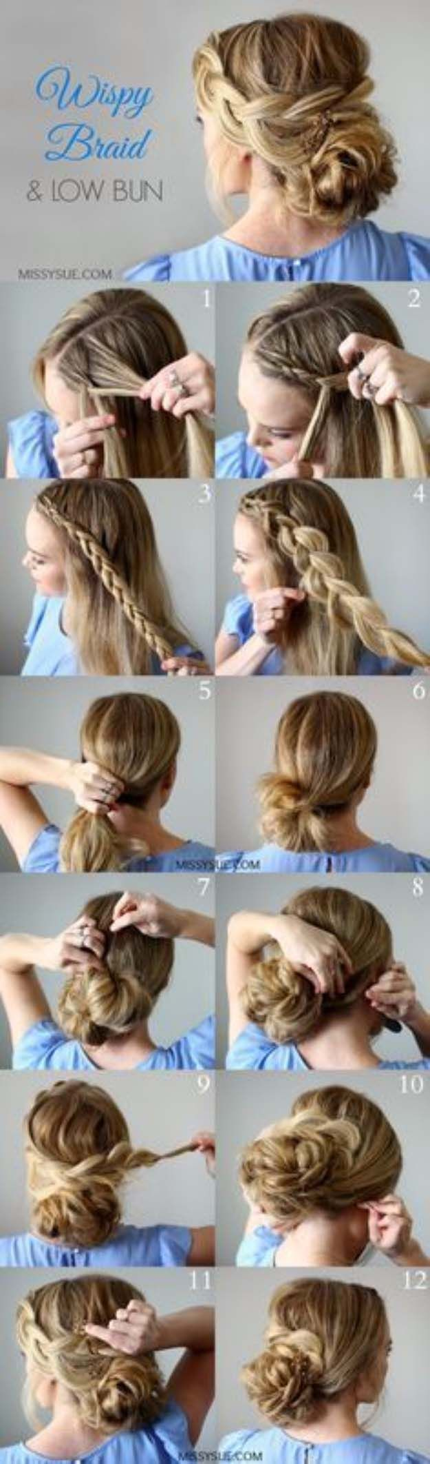 Best Hairstyles for Brides - Wispy Braid and Low Bun- Amazing Hair Styles and Lo...
