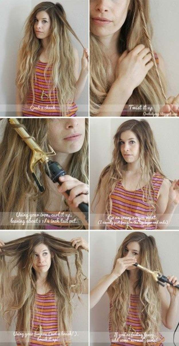 Easy Beachy Waves Tutorials for Hair - Easy Beach Waves - DIY And Easy Step By S...