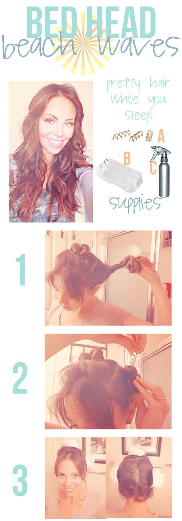 Easy Beachy Waves Tutorials for Hair - Sleep On It - DIY And Easy Step By Step T...