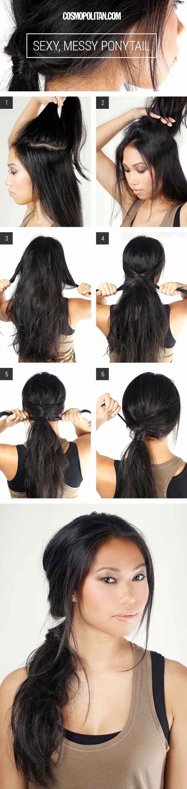 Glam Ponytail Tutorials - Sexy, Messy Ponytail- Simple Hairstyles and Pony Tails...