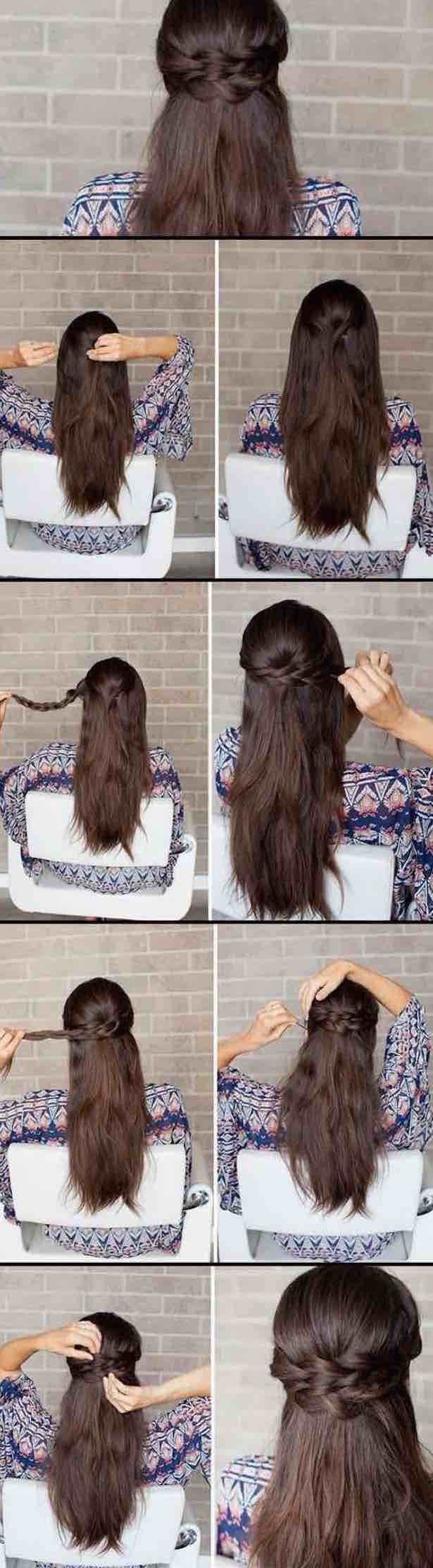 Half Up and Half Down Hairstyles for Prom - Braided Half-up how-to -Hairdos and ...