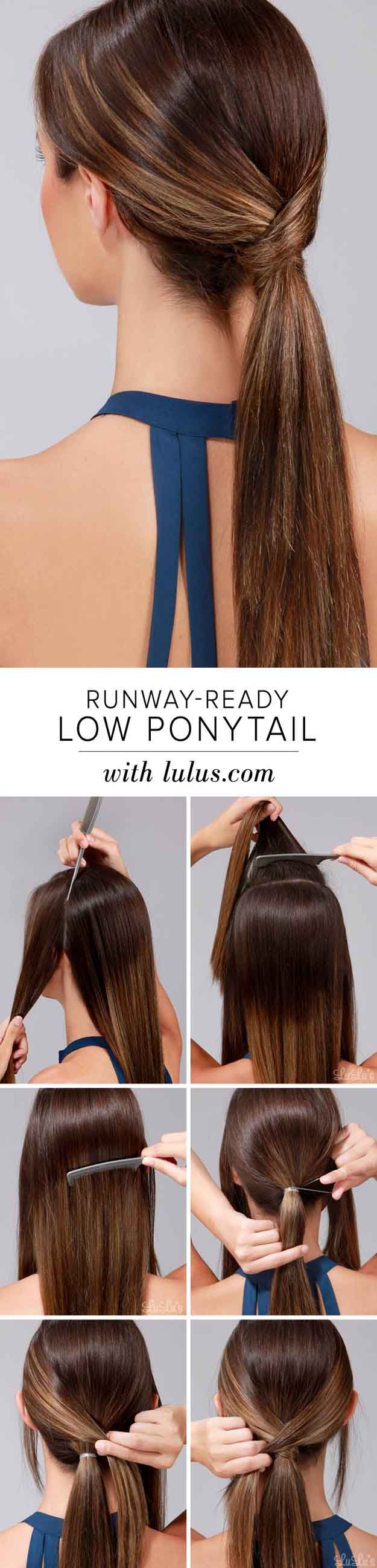 Quick and Easy Hairstyles for Straight Hair - How To Runway Ready Low Ponytail -...