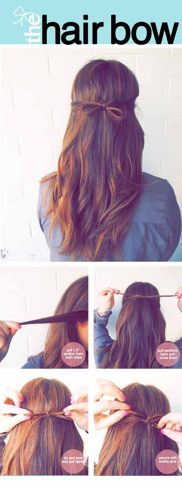 Quick and Easy Hairstyles for Straight Hair - The Tidy Hair Bow - Popular Haircu...